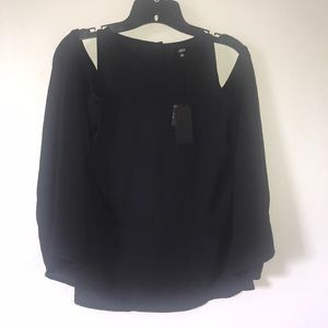 NWT Black Lucca Cold Shoulder Flare Top